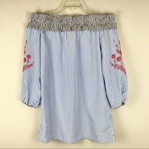 Romeo & Juliet Off Shoulder Stripe Tunic Dress